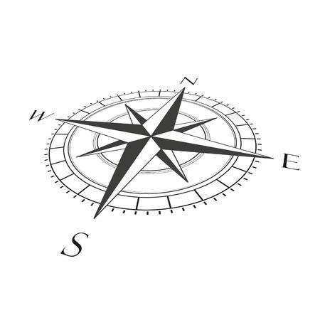 Foreshortened compas on the white background. Illustration