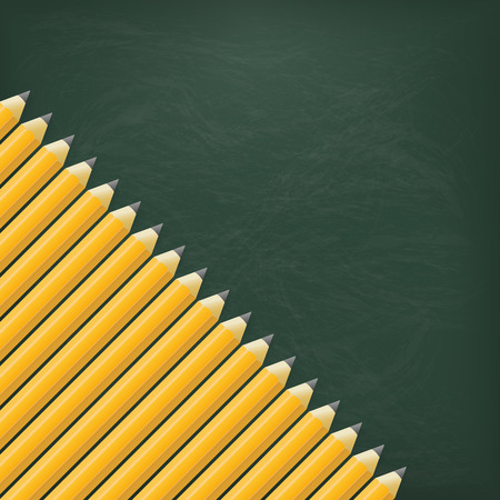 writting: Empty green blackboard with pencils.  Illustration
