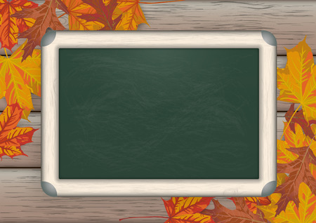 acer: Green blackboard on the wooden background with foliage.