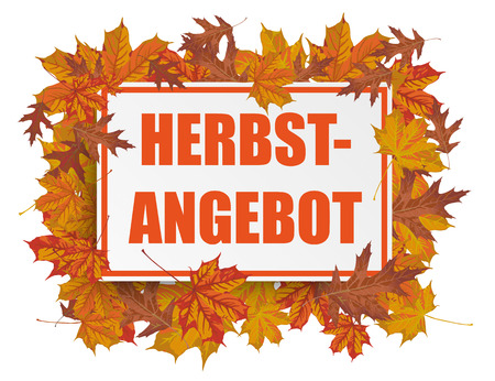 acer: Paper board with foliage on the white background. German text Herbstangebot, translate Autumn offer .  Illustration