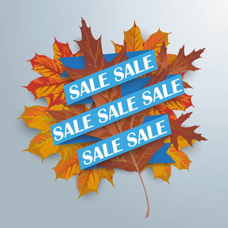 leave: Blue paper ribbon with autumn foliage on the gray background.  Illustration