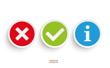 yes or no: Yes and no round icons on the white background Illustration