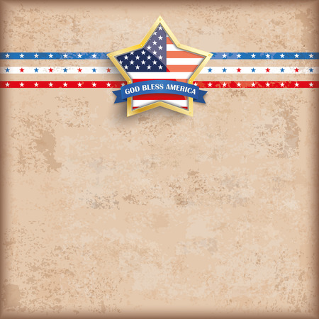 golden star: Vintage independence day background design with brown colors and US-Flag golden star.