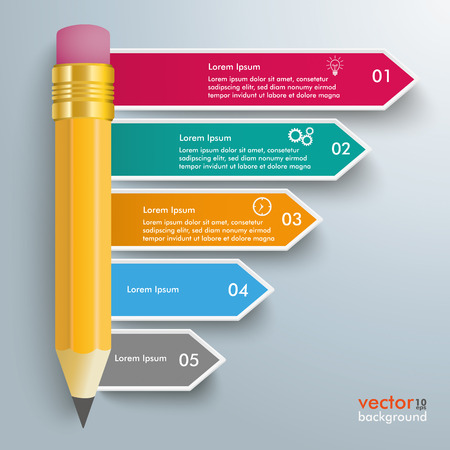 pencil writing: Colored arrows with pencil on the gray background.  Illustration