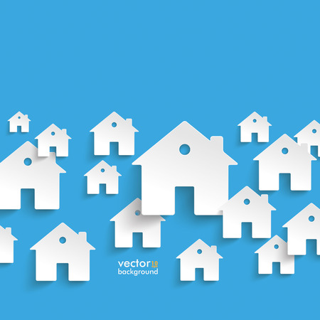 Infographic met witte huizen op de blauwe achtergrond Stock Illustratie