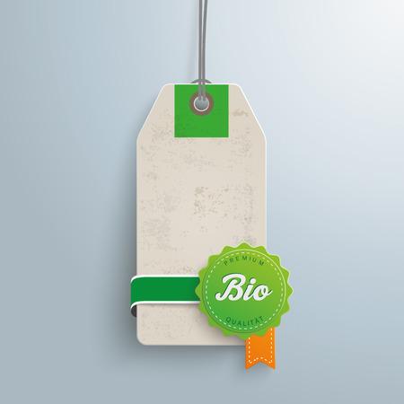 Price sticker with german text Premium Qualitaet, Bio, translate Premium Quality, Bio.