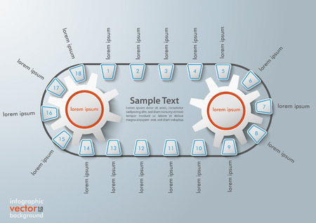 industrial belt: Infographic with production line and 2 gears.  Illustration