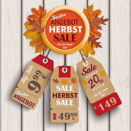 German text bestes Angebot, Herbst, Nur für kurze Zeit, translate best offer, Autumn, limited time only.