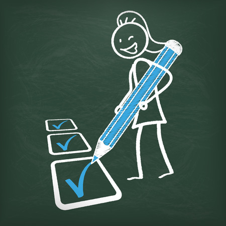 disposition: Blackboard with female stickman and checklist. Eps 10 vector file.