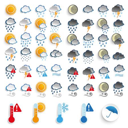 the weather: Conjunto grande de iconos, día y noche tiempo.