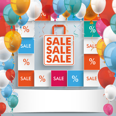 offerings: Text Sale with colored balloons on the gray background.  Illustration