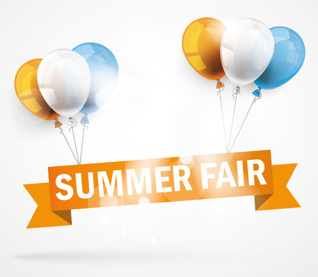 """Ribbon with text """"Summer Fair"""" and colored balloons."""