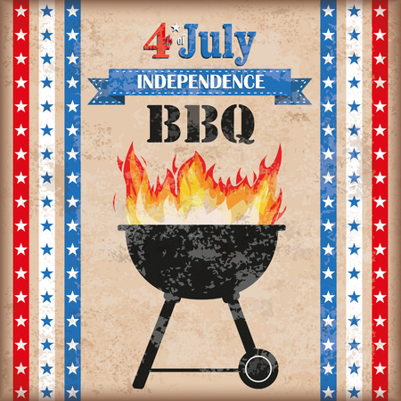 4 the july: 4 july barbecue with fire on the vintage background.