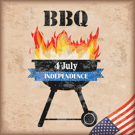 bbq: 4 july barbecue with fire on the vintage background.