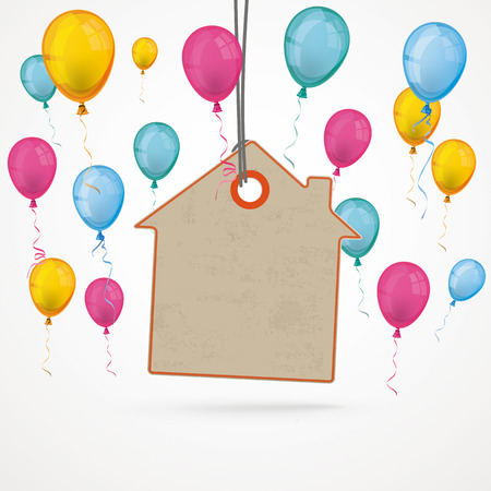 colored balloons: Infographic with house price sticker and colored balloons the grey background.