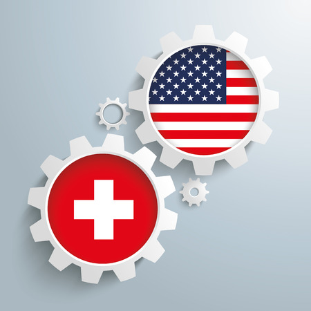 controll: White gears with Switzerland and US-Flag.