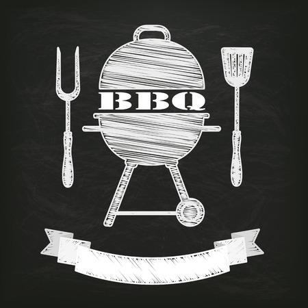 bbq: Blackboard with kettle BBQ and ribbon.  Illustration