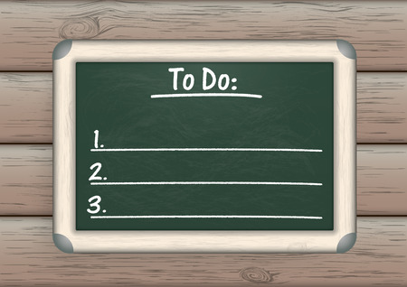 todo: Green blackboard with to do list on the wooden background.
