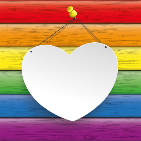 safely: Rainbow wooden background with heart.
