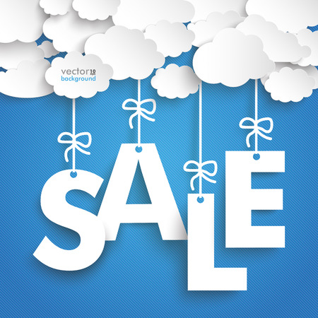 sales: Paper clouds with text SALE on the blue background.