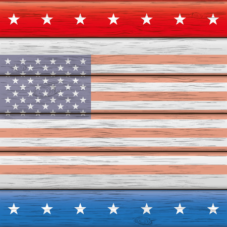 american table: US-Flag on the wooden background.