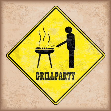 Grill party sign on the vintage background. Illustration