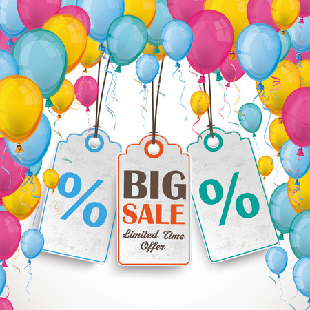 colored balloons: Colored balloons with 3 sale price stickers.