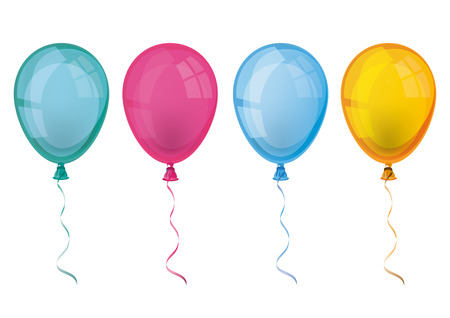 colored balloons: 4 colored balloons on the white background.