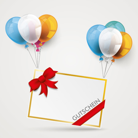 chit: Paper fram with balloons and german text  Illustration