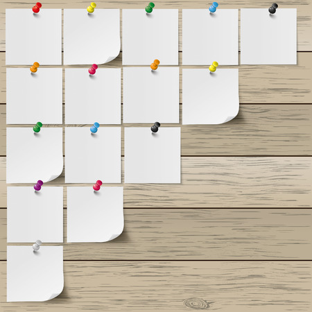 Infographic with gray stickers and colored pins on the wooden background.