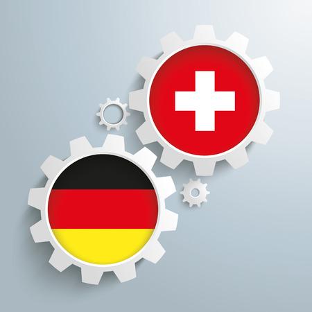 Weiße Zahnräder mit Deutsch und Schweiz-Flagge. Standard-Bild - 41744629