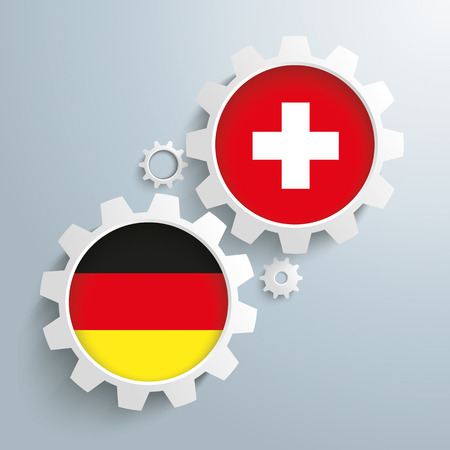 controll: White gears with german and switzerland-Flag.