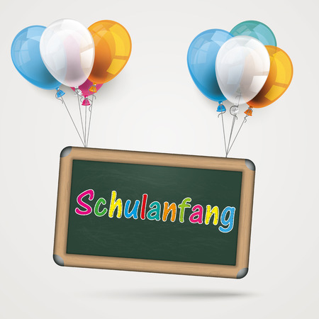 Paper fram with balloons and german text  Illustration