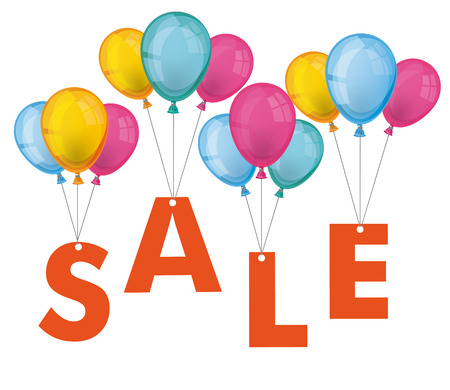 Text SALE with colored balloons on the white background.  Illustration
