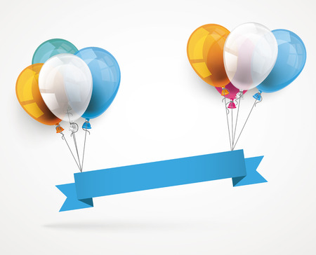 colored: Blue ribbon with colored balloons.  Illustration