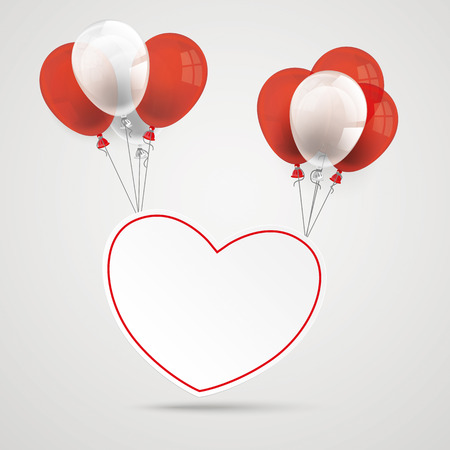 chit: Heart with balloons on the gray background.
