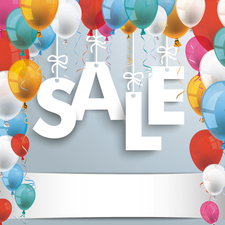 colored balloons: Text Sale with colored balloons on the gray background. Illustration