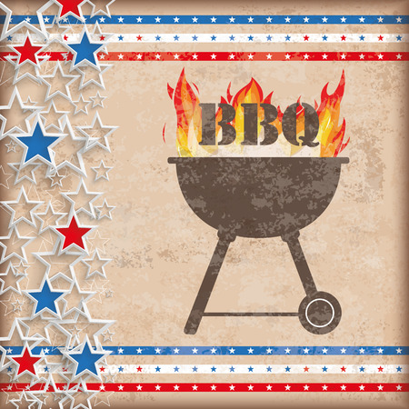 history month: Vintage independence day background design with brown colors, bbq and US-Flag stripes.