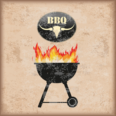 Kettle barbecue with fire on the vintage background.  Stock Illustratie