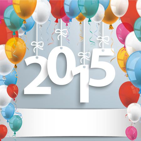 colored balloons: 2015 with colored balloons on the gray background.  Illustration