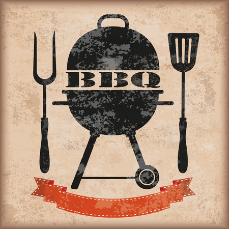 charcoal grill: Kettler barbecue with red ribbon on the vintage background.