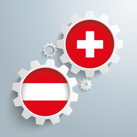 controll: White gears with Austria and Switzerland-Flag.