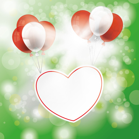 chit: Bokeh of green forest with sunlight, heart and baloons. Illustration