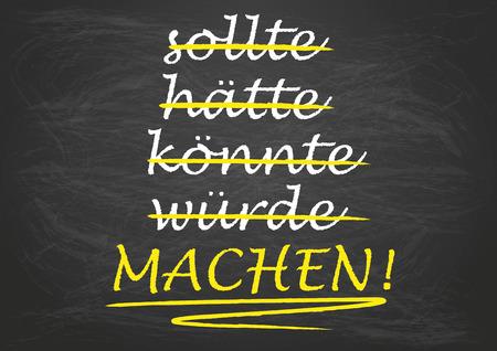could: German text translate should, should have, could, would, Make!  Illustration