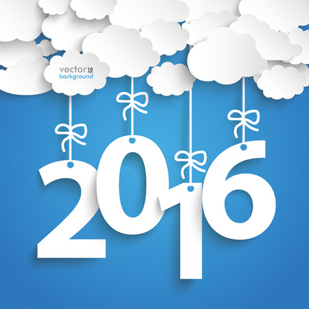 Papier wolken met tekst 2016 op de blauwe achtergrond.