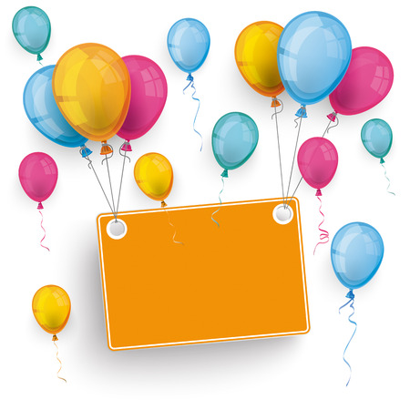 onlineshop: White board with colored balloons on the white background.