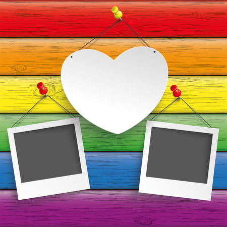 liberal: Rainbow wooden background with heart and instant film. Illustration