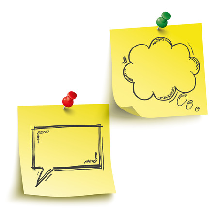 postit note: Yellow sticks with speech and thought bubbles and pins on the white background.  Illustration