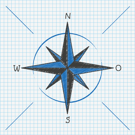 checked: Checked school paper with compass. Eps 10 vector file. Illustration