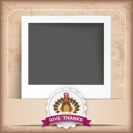 gobble: Vintage background with instant photo, emblem, turkey and text Give Thanks. Eps 10 vector file. Illustration